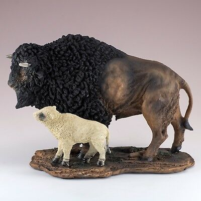 "Bison Buffalo With White Baby Calf Figurine Statue 8.25"" Long Resin New In Box!"