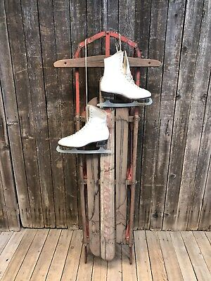 Vintage Wood Sled W Ice Skates Weathered Rustic Wall Art Winter Decor Primitive