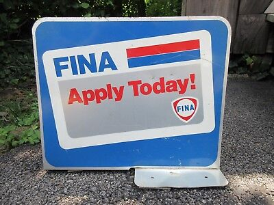 Vintage Fina Motor Oil Gas Metal Two Sided Advertising Sign