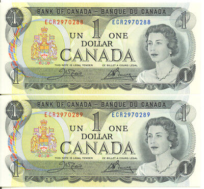 Bank of Canada 1973 $1 One Dollar Consecutive Pair Crow- Bouey AU/UNC