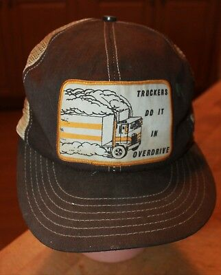 Vtg Snapback Ball Cap Hat Truckers Do It In Overdrive Front Patch Mesh  Truckers 0414ee135a60