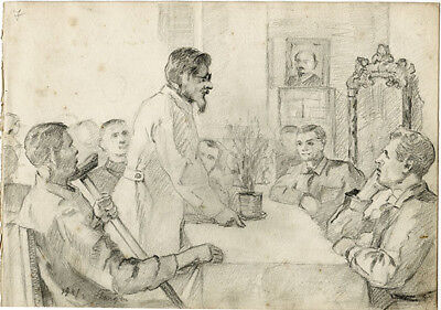 DOCTOR TALKS TO PEOPLE IN HOSPITAL Three drawings by Russian artist S. Pichugin