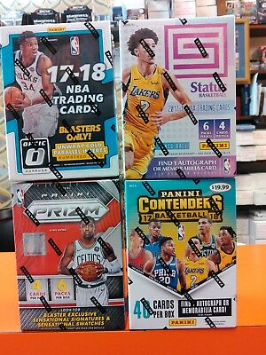 Mixed Lot of Four (4) 2017-18 BKBALL Blaster Boxes STATUS OPTIC CONTENDERS PRIZM