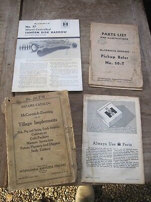 1926? REPAIRS CATALOG McCormick-Deering Tillage Implements + Other Old Items