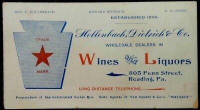 1900 antique HOLLENBACH DIETRICH WINE&LIQUOR READING,PA