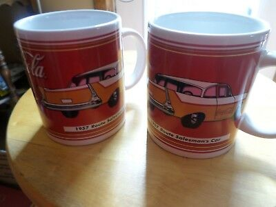 set of 2 Coca Cola coffee Mug 1957 Route Salesmans Car 2002 never used chevrolet