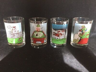 Lot of 4 Vintage 1982 Arby's Collect Series Gary Patterson Drink Glasses  PLUS 2