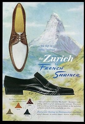 1961 French Shriner men's shoes Switzerland Matterhorn art vintage print ad