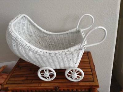 Vintage White Wicker Hooded Doll Buggy, Pram, Stroller, Carriage