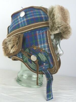 c3f5cc59d9690 True Religion Men s Brown Blue Green Red Wooly Plaid Leather Earflap Trapper  Hat