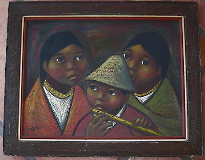 MODERNIST VINTAGE OIL PASTEL PAINTING by Listed  ARTURO NIETO 20th Cent. ECUADOR