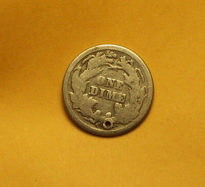 "++  1876-Cc Seated Liberty Silver Dime  Small Hole ""carson City"" Old Jewelry  ++"