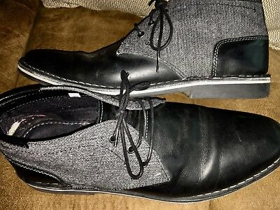 4895c07fa51 Mens 12 Shoes STEVE MADDEN Fabric Leather Lace up Chukka Boot HARKEN Black  Gray