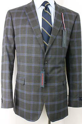 1ed11981d8928 New 44R Tommy Hilfiger Gray Winodw Pane Men s Double Vent Sport Coat Blazer  JL8