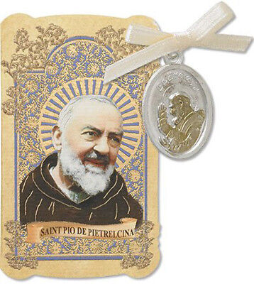 San Pio De Pietrelcina Tu Tone Gold Silver Toned Medal with Holy Card, 7/8 Inch