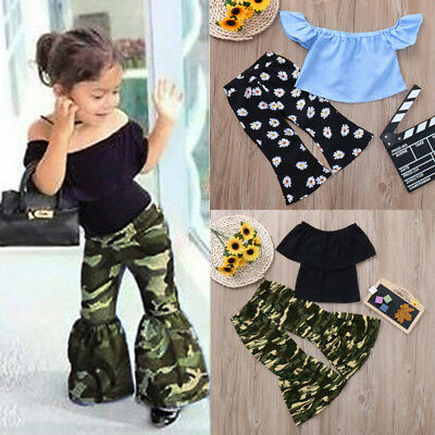 Boho Toddler Baby Kids Girls Shirt Blouse Tops+Longs Pants Set Outfits Clothes