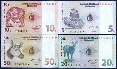 1997 CENTRAL BANK OF CONGO BANKNOTES x 4 ~  5, 10, 20 & 50 CENTIMES