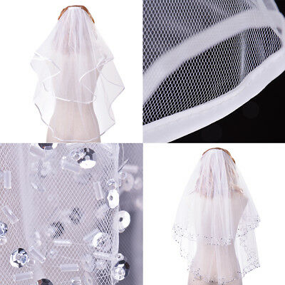 Wedding Bridal Veil 2 Tiers Sequin Beading Edge/Ribbon Satin Edge + Lace Gloves