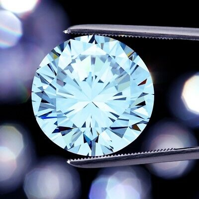 Loose Moissanite Blue 0.5 CT to 5.3 CT Round Cut VVS/VS, For Engagement Ring