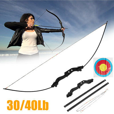 30 40lbs Metal Archery Hunting Straight Bow Shooting Takedown Right Handed Sport