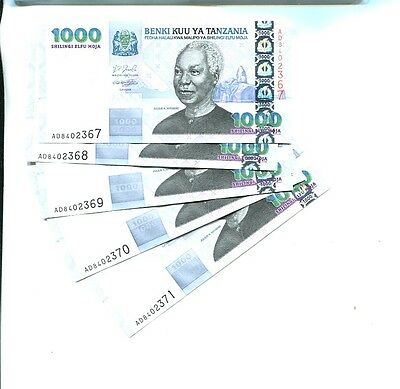 Tanzania 2003 1000 Shillings Currency Note Lot Of 5 Consecutive Choice Cu 2375J