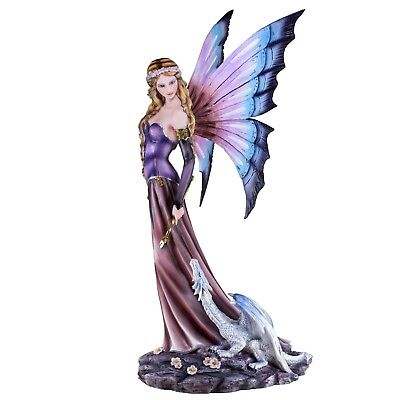 """Large Purple Fairy With White Dragon Figurine Statue 20"""" High Resin New In Box!"""