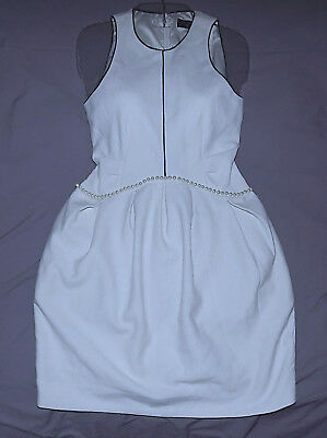 CHANEL -Gorgeous Pleat front Pearl waist Dress-Size Medium-Off White Color-Great