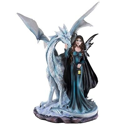"""Large Dark Fairy With White Dragon Figurine Statue 17.75"""" High Resin New In Box!"""