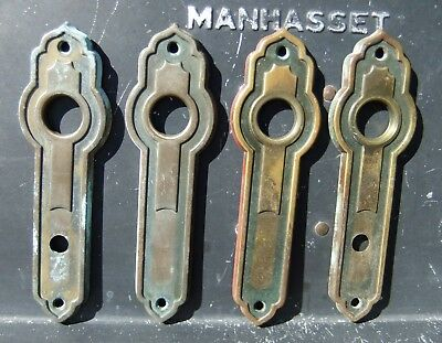 Set of Four Art Deco Pressed Brass French Doors Door Knob Back Plates