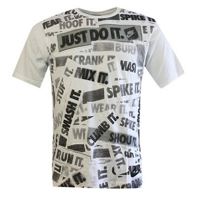Nike Just Do It Patterned Short Sleeve Crew Mens Tee Top T-Shirt 266269 100 M11