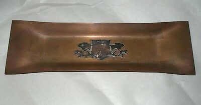 Fine ARTS CRAFTS COPPER PEN TRAY Incredible Hand Crafted SILVER DRAGON SHIELD