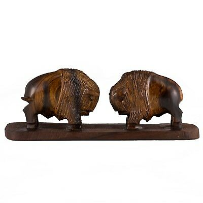 "Hand Carved Wood Ironwood Pair of Buffalo Charging Figurine 8""L Made In USA"