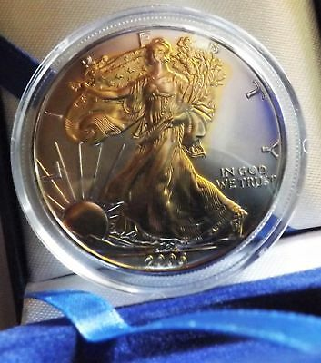 2006 American Silver Eagle 1oz SILVER Coin with 24K GOLD  GILDED, PROOF LIKE :