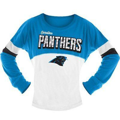 New Era Carolina Panthers Girls Youth White Blue Baby Jersey Long Sleeve  T-Shirt a2a896d68