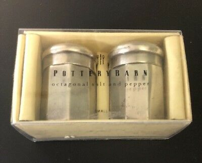 Pottery Barn Antique Silver Sentiment Small Salt & Pepper Shakers EUC In Box
