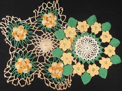 2 Vintage Hand Crocheted Lace Round Doilies W/colored Stand Up 3D Flowers