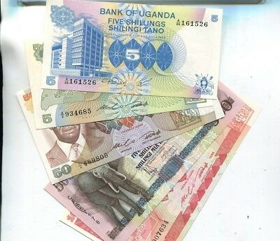 Uganda 1986 1991  Currency Note Lot Of 5 Different Cu 1088L
