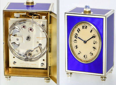 L.TISSOT 8 DAY MINUTE REPEATER MINIATURE ENAMEL CARRIAGE CLOCK ONLY 7cm HIGH