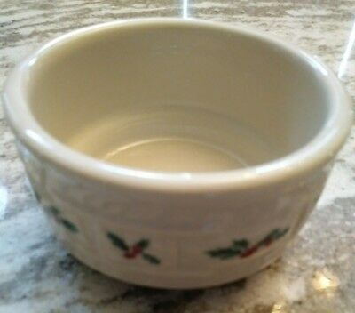 Longaberger RARE Holly Pottery Custard Cup made in USA - mint condition!