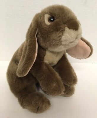 """Animal Alley BUNNY 12"""" Plush Taupe Brown Weighted Bean Bag Toys R Us"""