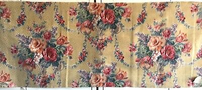 Wonderful Vintage 1930's French Linen  Printed Floral Fabric  (2398)