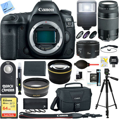 Canon EOS 5D Mark IV 30.4 MP DSLR Camera (Body) + 75-300mm & 50mm Lens Bundle