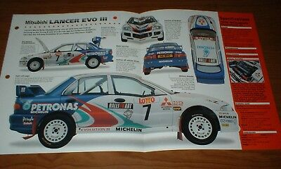 ★★1996 Mitsubishi Lancer Evo Iii Spec Sheet Info Brochure Photo Rally Racing★★