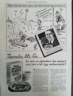 1934 Post all-bran cereal Fontaine Fox Willie's recent burst of energy art ad