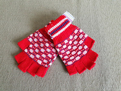 BNWT Girls Boys Teenager Red White Royal Blue Fingerless Knit Gloves One Size