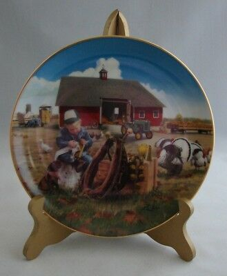 "Vtg John Deere Danbury Mint ""Little Farmhands Too Busy to Play"" 8"" Plate"