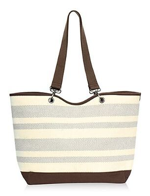 c3335105e631 Thirty one CANVAS CREW casual beach tote bag 31 gift in Taupe Straw Stripe  XXL a