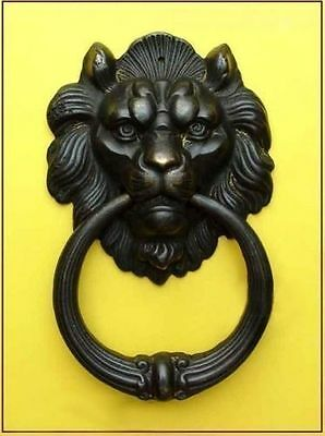 Ancient Rare Chinese collection Old Bronze Fierce Lion Head Door Knocker