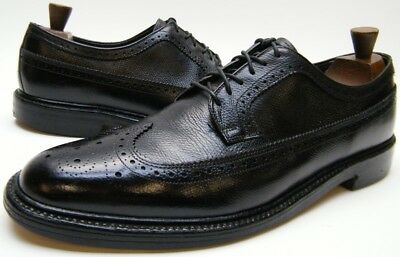 Mens Vtg Lb Sheppard Hanover Blk Wingtip Brogue Leather Oxford Dress Shoes 13 B