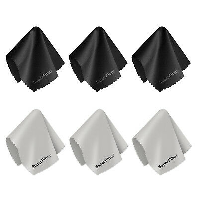 6 Pack Ultra Gentle Black & Gray SuperFiber Cleaning Clothes Screens Glass Lens